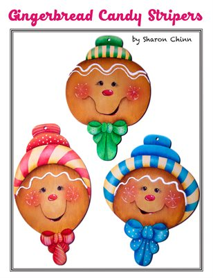 Gingerbread Candy Striper Ornaments Painting Pattern - Sharon Chinn