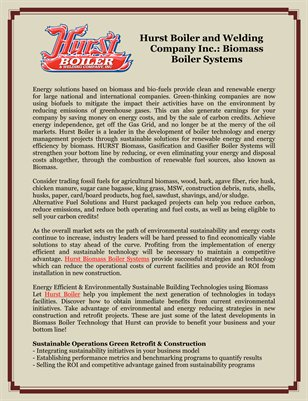 Hurst Boiler and Welding Company Inc.: Biomass Boiler Systems
