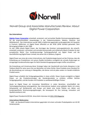 Norvell Group and Associates Manufacturers Review: About Digital Power Corporation