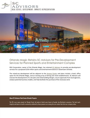 Orlando Magic Retains SC Advisors for Pre-Development Services for Planned Sports and Entertainment Complex