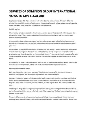 SERVICES OF DOMINION GROUP INTERNATIONAL VOWS TO GIVE LEGAL AID.
