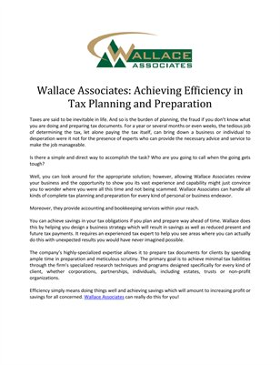 Wallace Associates: Achieving Efficiency in Tax Planning and Preparation