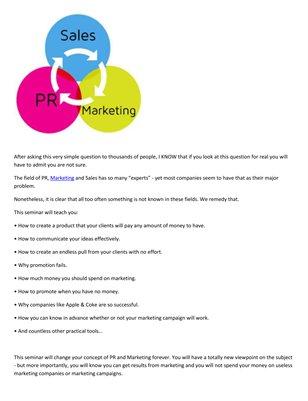 Meir Ezra: PR, Marketing and sales