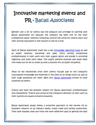 Innovative marketing events and PR - Bacall Associates