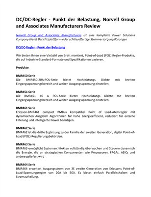 DC/DC-Regler - Punkt der Belastung, Norvell Group and Associates Manufacturers Review
