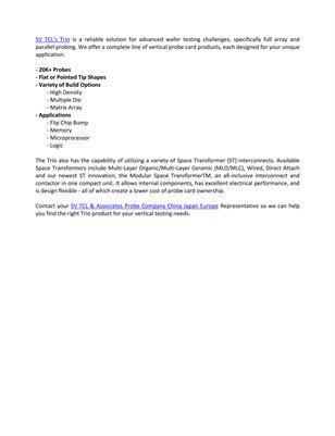 Trio Vertical SV TCL & Associates Probe Company China Japan Europe