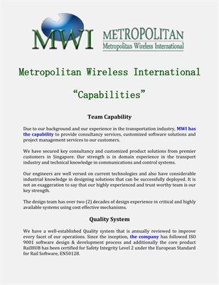 Metropolitan Wireless International: Capabilities