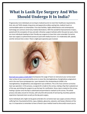 What Is Lasik Eye Surgery And Who Should Undergo It In India?