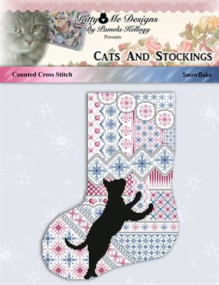 Cats And Stockings Snowflake Cross Stitch Pattern