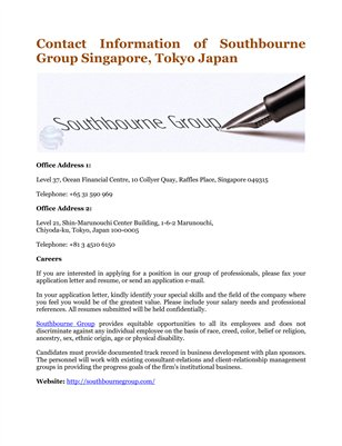 Contact Information of Southbourne Group Singapore, Tokyo Japan