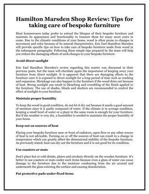 Hamilton Marsden Shop Review: Tips for taking care of bespoke furniture