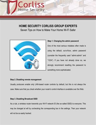 Home Security Corliss Group Experts: Seven Tips on How to Make Your Home Wi-Fi Safer