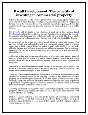 Bacall Development: The benefits of investing in commercial property