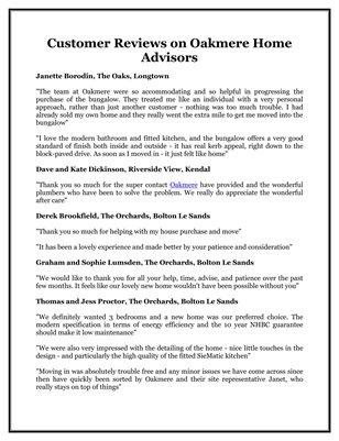 Customer Reviews on Oakmere Home Advisors