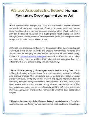 Wallace Associates Inc. Review: Human Resources Development as an Art