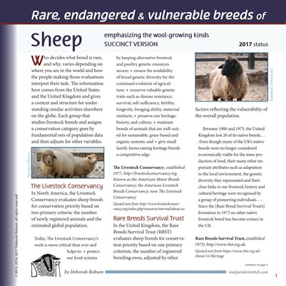 Deborah Robson's Facts for Fiber Geeks: 2017 Rare Sheep and Wools