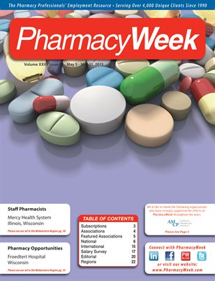Pharmacy Week, Volume XXII, Issue 17, May 5-May 11, 2013