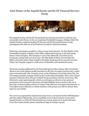 Joint Dinner of the Asquith Society and the OC Financial Services Group