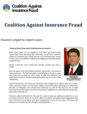 Coalition Against Insurance Fraud: Insurers urged to report cases
