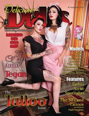Delicious Dolls September 2013 Tattoo Issue - Alyssa and Tegan Cover