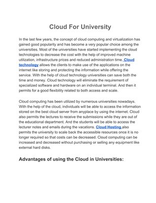 Cloud For University