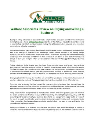 Wallace Associates Review on Buying and Selling a Business