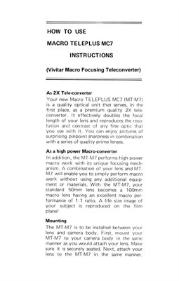 Teleplus MC7 (Vivitar) 2x Macro Tele Converter Instruction Leaflet in English