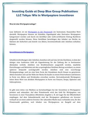 Investing Guide at Deep Blue Group Publications LLC Tokyo: Wie in Wertpapiere investieren