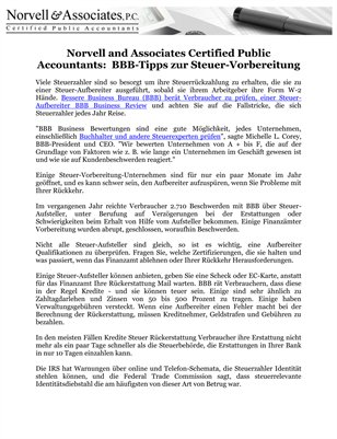 Norvell and Associates Certified Public Accountants: BBB-Tipps zur Steuer-Vorbereitung