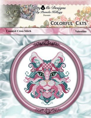 Colorful Cats Valentino Counted Cross Stitch Pattern