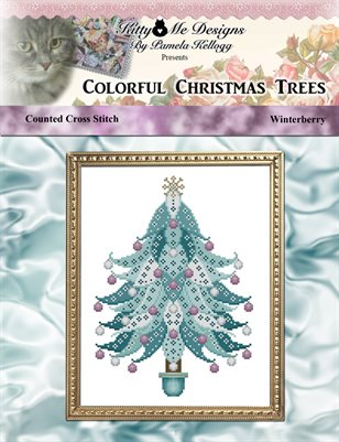 Colorful Christmas Trees Winterberry Cross Stitch Pattern