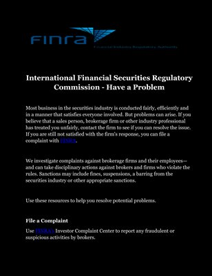 International Financial Securities Regulatory Commission - Have a Problem