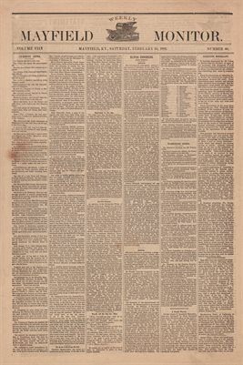 (PAGES 1-2 ) FEBRUARY 25, 1882 MAYFIELD MONITOR NEWSPAPER, MAYFIELD, GRAVES COUNTY, KENTUCKY