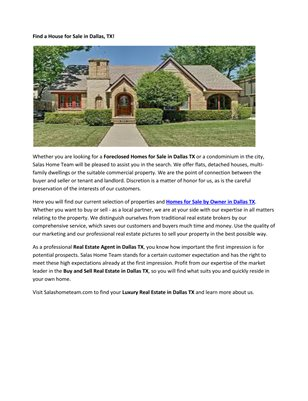 Houses for Sale Dallas Tx