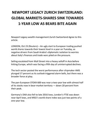 NEWPORT LEGACY ZURICH SWITZERLAND: GLOBAL MARKETS-SHARES SINK TOWARDS 1-YEAR LOW AS BEARS BITE AGAIN