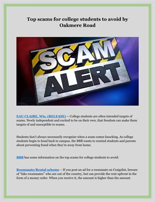 Top scams for college students to avoid by Oakmere Road