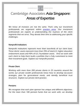 Cambridge Associates Asia Singapore: Areas of Expertise