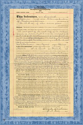 1894, Short Country Lease, Clarenda Dunham & E.A. Lee, Tazewell County, IL.