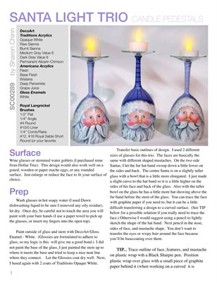 Santa Candle Pedestals Painting Pattern Tutorial by Sharon Chinn SC00289