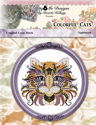 Colorful Cats Nightmare Counted Cross Stitch Pattern