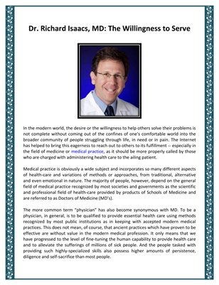 Richard Isaacs, MD: The Willingness to Serve