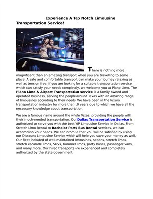 Plano Limousine - Limo Service Dallas