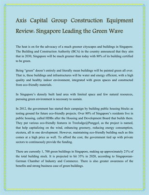 Axis Capital Group Construction Equipment Review: Singapore Leading the Green Wave
