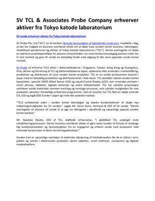 SV TCL & Associates Probe Company erhverver aktiver fra Tokyo katode laboratorium