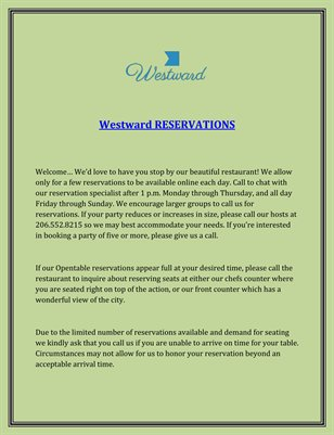 Westward RESERVATIONS
