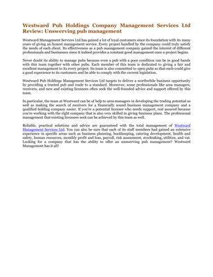 Westward Pub Holdings Company Management Services Ltd Review: Unswerving pub management