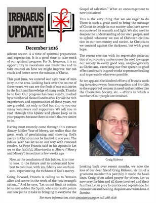 Irenaeus Update Winter 2016