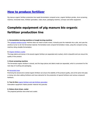 How to produce bio organic fertilizer with pig manure