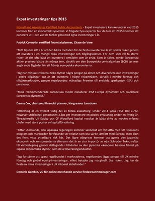 Norvell and Associates Certified Public Accountants Expat investeringar tips 2015