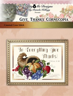 Give Thanks Cornucopia Cross Stitch Pattern